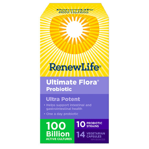 REnew Life Ultimate Flora Ultra Potent 100 Billion, 14 Vegetarian capsules