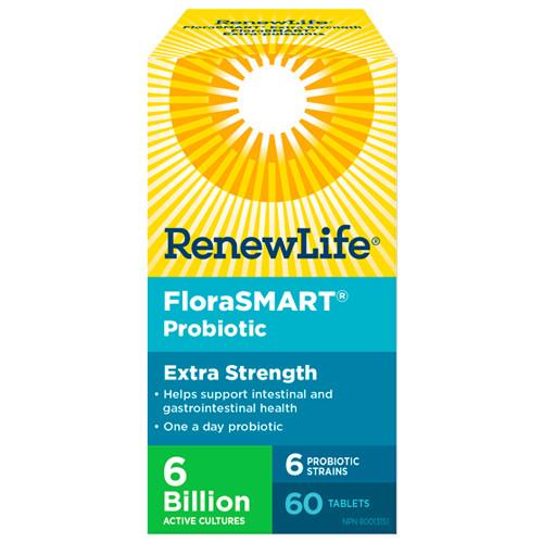 Renew Life FloraSMART Extra Strength probiotic for travelers.  60 tabs.