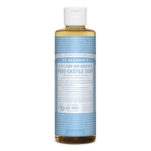 Dr. Bronner's 18-in-1 Baby Unscented Pure Castile Soap 237 ml