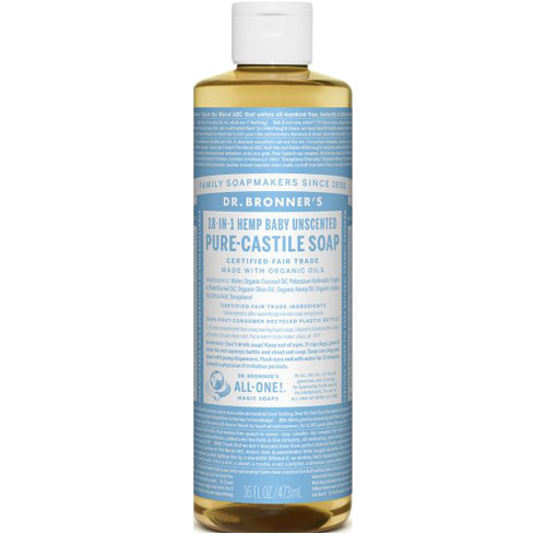 Dr. Bronner's 18-in-1 Baby Unscented Pure Castile Soap 473 ml