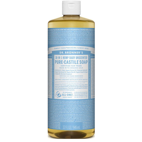 Dr. Bronner's 18-in-1 Baby Unscented Pure Castile Soap 946ml