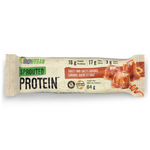 Iron Vegan Sprouted Protein Bar Sweet and Salty Caramel 64 grams