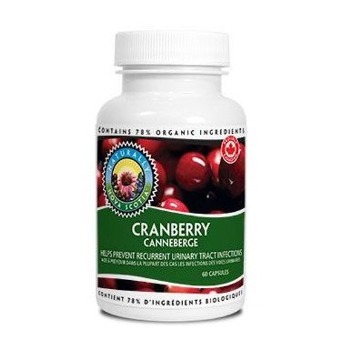 Naturally Nova Scotia Organics Cranberry 60 capsules per bottle.