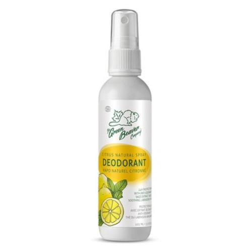 The Green Beaver Company Citrus Scent Deodorant Spray.  All natural, 24 hours protection.  105 ml per spray bottle.