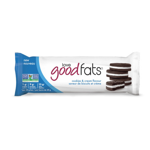 Love Good Fats Cookies & Cream Flavour Snack Bar Canada