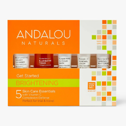 Andalou Naturals Fruit Stem Cell Science Get Started Brightening trial and travel kit.  Includes 5 products for normal and combination skin types.  Renews at the cellular level for visible brightening results.