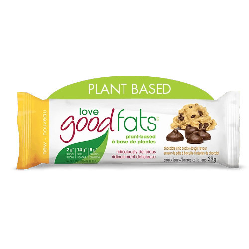 Love Good Fats Plant Based Chocolate Chip Cookie Dough Flavour Snack Bar Canada
