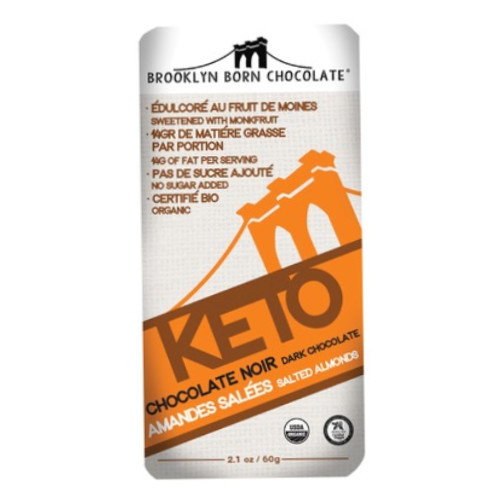 Keto Salted Almond Dark Chocolate bar