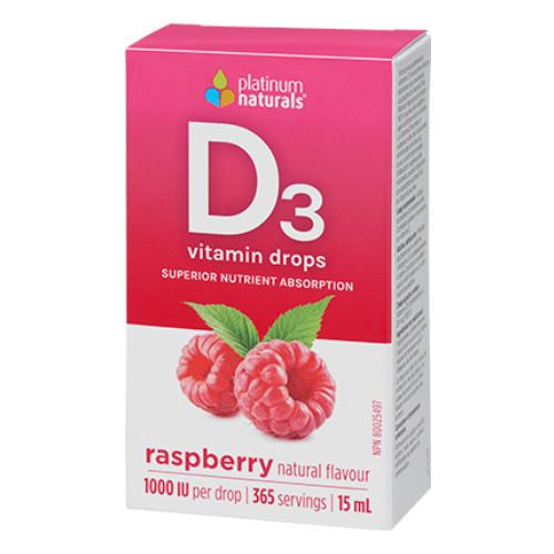 Platinum Delicious D Vitamin D3 liquid drops in raspberry flavour