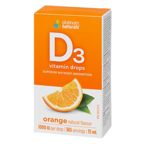 Platinum Delicious D Vitamin D3 liquid drops in orange flavour.