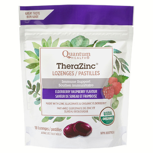 Quantum Health Elderberry Raspberry Flavour TheraZinc Immune Support Lozenges 18 lozenges Canada
