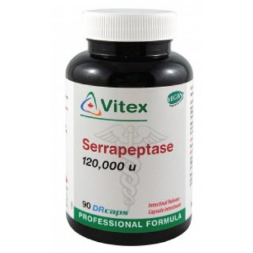 Vitex Serrapeptase 120,000 su with 90 capsules per bottle for pain relief, inflammation and helping to heal tissue from injuries.