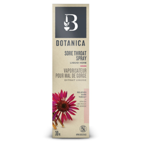 Botanica Sore Throat Spray is a liquid herb that helps soothe and relieve sore throats