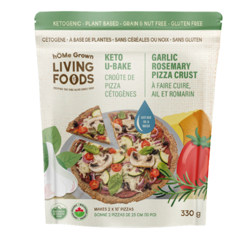 hOME Grown Living Foods Ketogenic Pizza Crust! U-Bake Garlic Rosemary Pizza Crust Mix