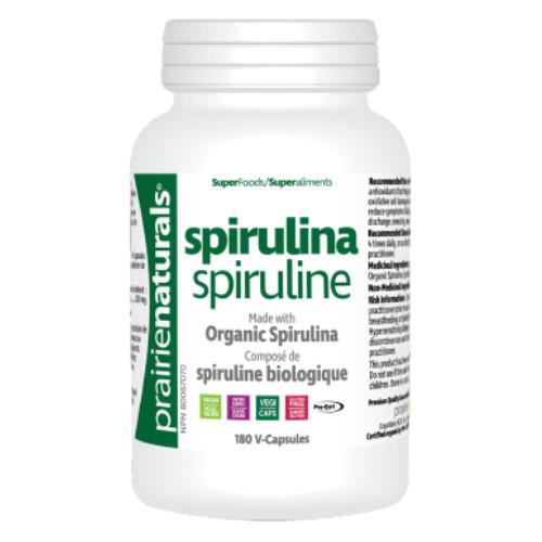 Prairie Naturals Organic Spirulina 180 V-Capsules Greens