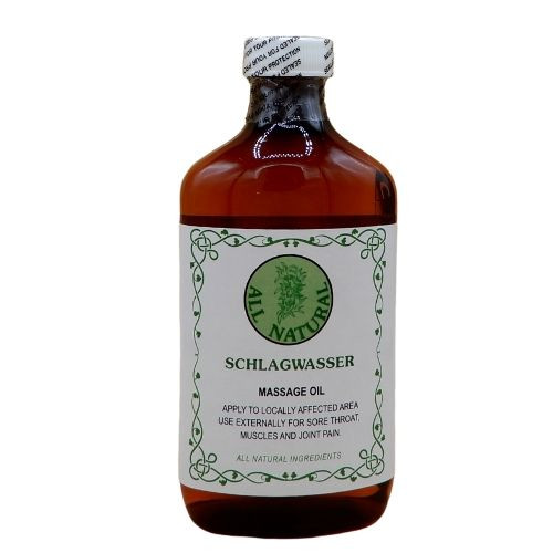 All Natural Schlagwasser Massage Oil is designed to help relieve muscle and joint pains.