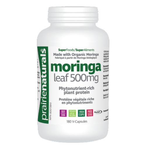 Prairies Naturals Moringa Leaf is a pytonutrient-rich plant protein that provides a source of protein, vitains, minerals, omega oils, and antioxidants that protect cells in the body.