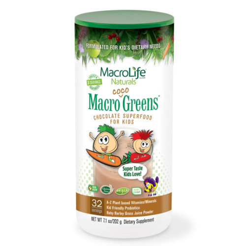 MacroLife Naturals Macro Coco Greens Kids is a delicious superfood for kids that is filled with daily benefits.