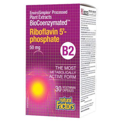 Natural Factors BioCoenzymated Riboflavin 5'-Phosphate B2 30 capsules Canada