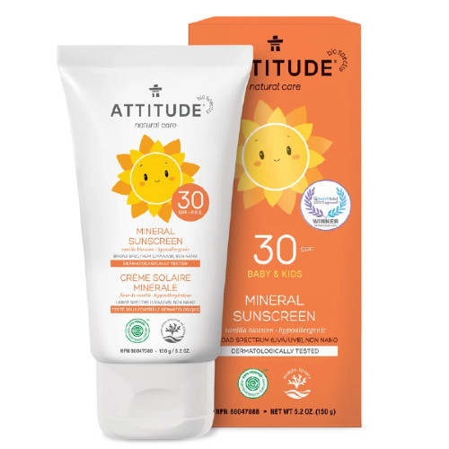 Attitude Natural Care Baby & Kids 30 SPF Mineral Sunscreen Vanilla Blossom