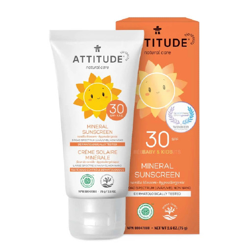 Attitude Natural Care Baby & Kids 30 SPF Mineral Sunscreen Vanilla Blossom