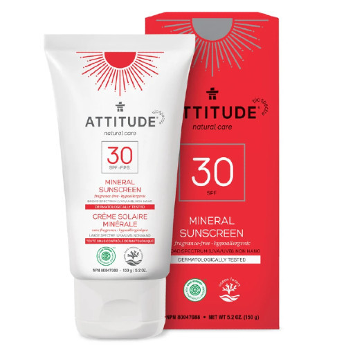 Attitude Natural Care 30 SPF Mineral, Fragrance-Free