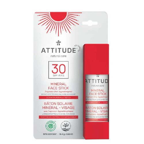 Attitude Natural Care 30 SPF Mineral Face Stick, Fragrance-Free
