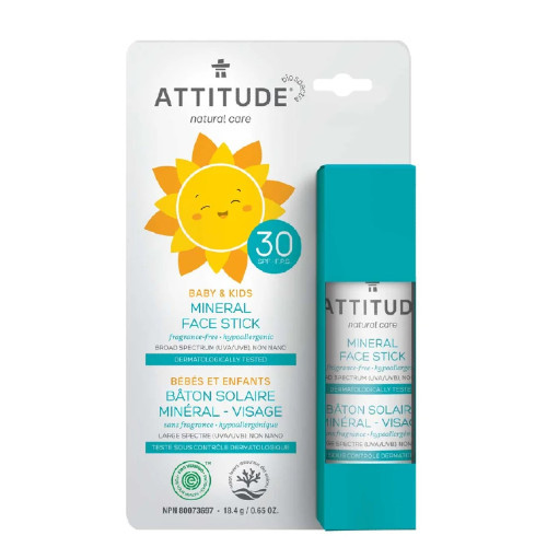 Attitude Natural Care Baby & Kids 30 SPF Mineral Face Stick, Fragrance-Free