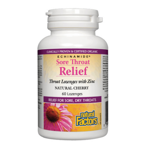 Natural Factors Sore Throat Relief throat lozenges with zinc that are clinically proven.  60 lozenges in natural cherry flavour per bottle.