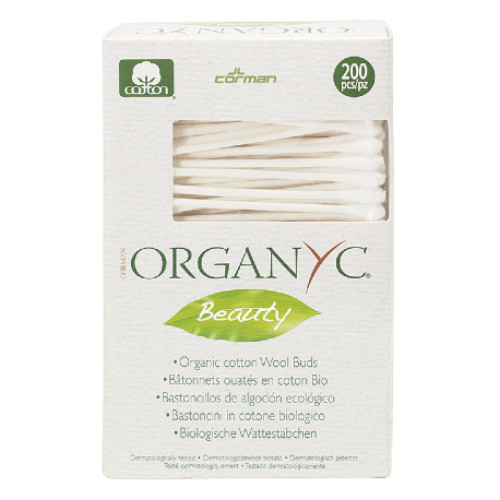 Corman Organyc Beauty organic cotton wool buds for daily cosmetic use and body care.  Uses certified organic cotton and recyclable cardboard stem.  200 pieces per box.
