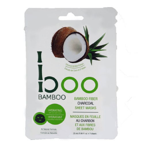 Boo Bamboo Hydrating Charcoal Sheet Mask is enriched with coconut, aloe, and bamboo extracts to soften, protect, detoxify, and moisturize your skin.