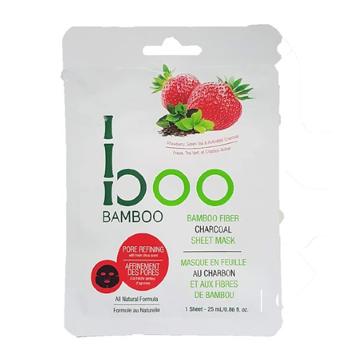 Boo Bamboo Pore Refining Charcoal Sheet Mask contains activated charcoal, green tea, and strawberry extracts to deeply cleanse and minimize pores.