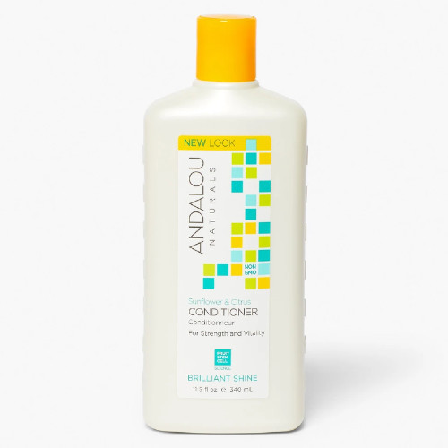Andalou Naturals Sunflower & Citrus Brilliant Shine Hair Conditioner is filled with Vitamin E and fruit stem cells to improve longevity and vitality of your hair while giving it a brilliant shine finish.