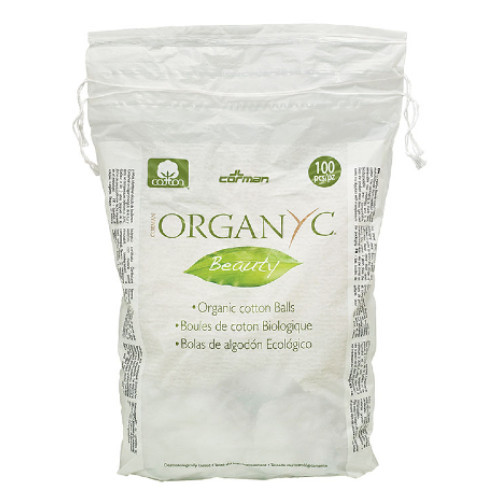 Corman Organyc Beauty Organic Cotton Balls are made from 100% certified organic cotton.  They are packaged in a convenient drawstring biodegrable and compostable bag.  100 pieces per package.