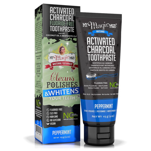 My Magic Mud Peppermint Activated Charcoal Toothpaste.