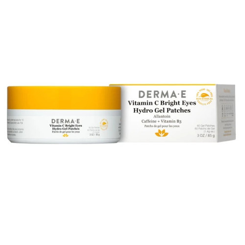 Derma E Vitamin C Bright Eyes Hydro Gel Patches instantly brightens and transforms puffy-looking eyes into well-rested and wide awake eyes.