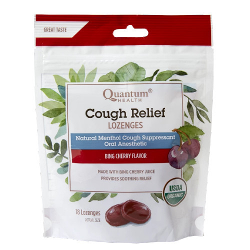 Quantum Health Cough Relief Lozenges. Cherry Flavoured
