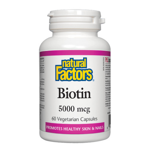 Natural Factors Biotin 5000 mcg helps to promote healthy skin and nails Canada