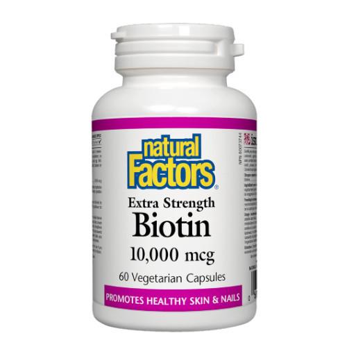 Natural Factors Extra Strength Biotin 10,000 mcg healthy skin and nails Canada
