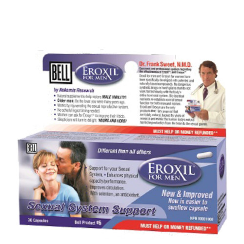 Bell Eroxil for Men offers sexual support to increase your libido and sexual stamina.  Available in 30 caps per bottle.