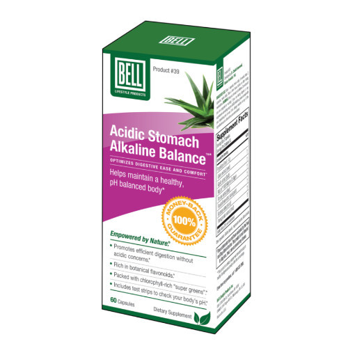Bell Acidic Stomach Alkaline Balance for relief of heartburn, indigestion and upset stomach.  60 capsules per bottle. New packaging.