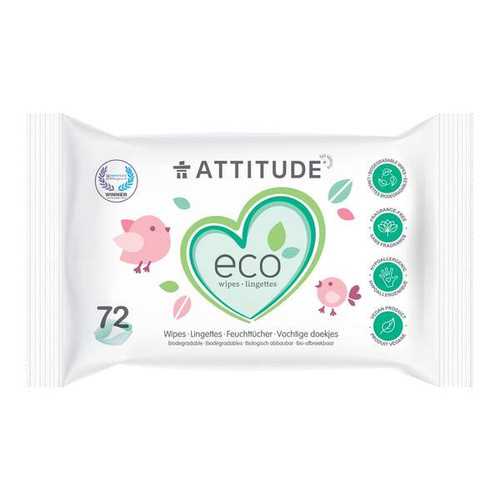 Attitude Eco Wipes Biodegradable fragrance free 72 wipes