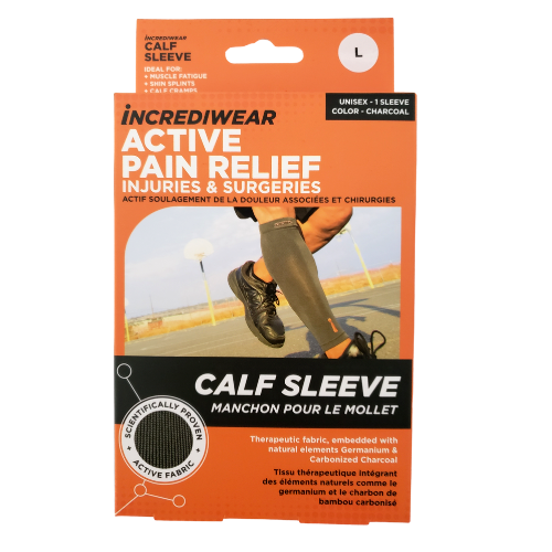 Incrediwear active pain relief calf sleeve large charcoal unisex