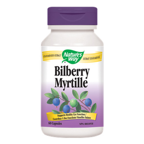 Nature's Way Bilberry helps to support healthy eye functions such as night vision, cataracts etc.  60 caps per bottle.
