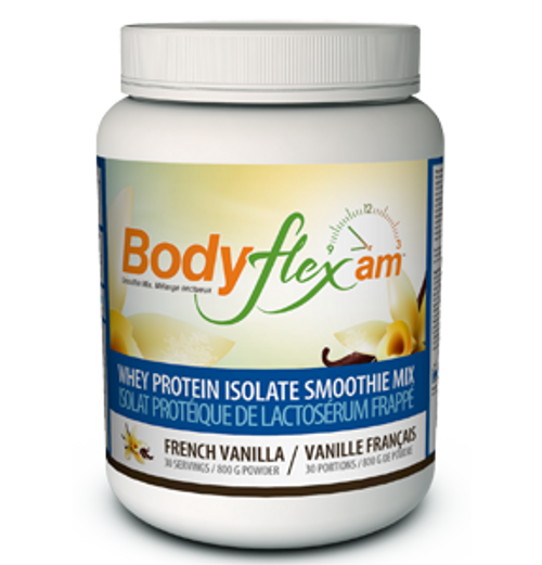 Bodyflex AM Smoothie Mix in french vanilla flavour is an all in one providing high quality protein, vitamins and chelated minerals.  800 grams