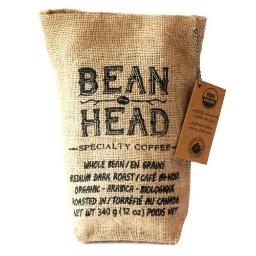 Bean Head Specialty Coffee Ground Medium Dark Roast is an organic rich coffee with a smooth finish.