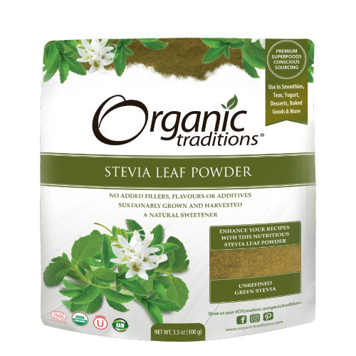 Organic Traditions Stevia Leaf Powder is a natural sweetener.