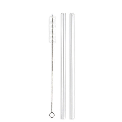 Enviro Glass Straws are reusable, and made from borosilicate glass. 9.5 x 8 inches Straight Straw Combo with Cleaner
