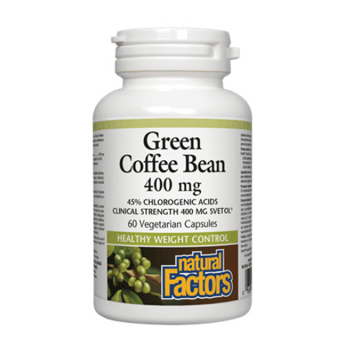 Natural Factors Green Coffee Bean for weight control and weight loss.   60 vegetarian capsules per bottle.