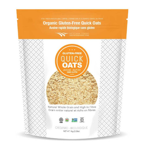 Wescana Foods Organic Gluten Free Quick Oats are certified organic and gluten free
